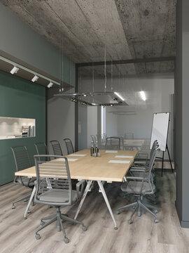 3d rendering of industrial loft confenrence room office interior design