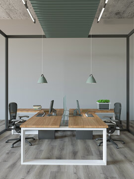 3d rendering of industrial style interior office