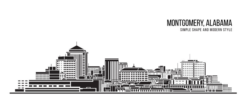 Cityscape Building Abstract Simple shape and modern style art Vector design - Montgomery city, Alabama