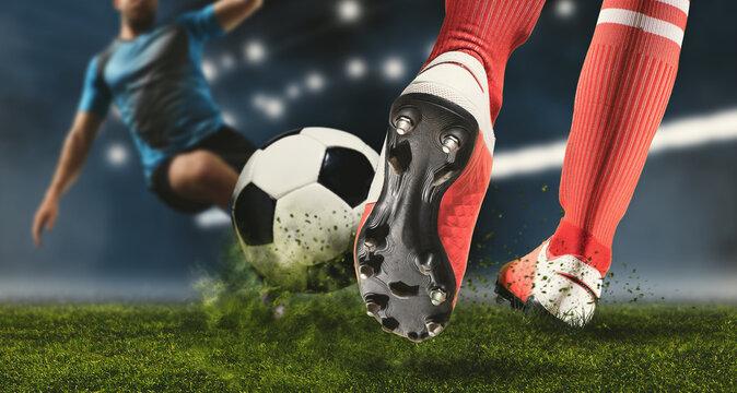Soccer player making sliding tackle