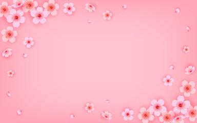 Wall Mural - Sakura frame border Vector illustration. Pink Cherry blossom on pink background.