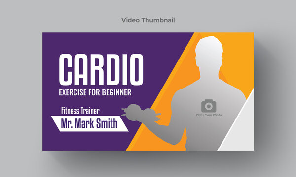 Fitness exercise thumbnail design for any videos. Editable video thumbnail and web banner template. Video cover photo template for social media