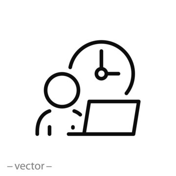 flexible schedule work icon, worker hours, punctual business man, part time job, remotely at the computer,  thin line symbol on white background - editable stroke vector illustration eps10