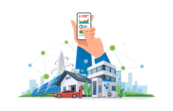 Smartphone with electricity energy control usage monitoring app. Sustainable renewable power plant system storage station with electric car charging solar panels, wind, high voltage power grid city.