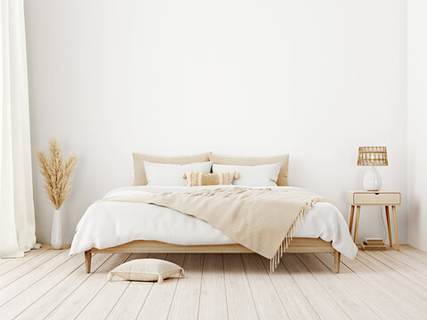 Bedroom interior mockup in boho style with fringed blanket, pillows with tassels, white bedding, dried pampas grass, basket lamp and curtain on empty white background. 3d rendering, 3d illustration