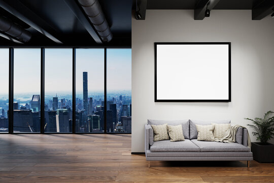 modern clean office waiting area reception with skyline view and large white poster, copy space, 3D Illustration