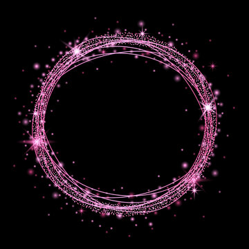 Round pink frame with glitter and sparkles. Vector illustration.