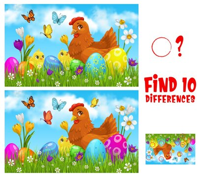 Kids game find ten differences with Easter vector cartoon chicken with cute chicks on green spring meadow with decorated eggs, flowers and butterflies. Educational children riddle, leisure activity
