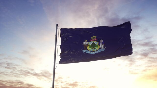 State flag of Maine waving in the wind. Dramatic sky background. 3d illustration