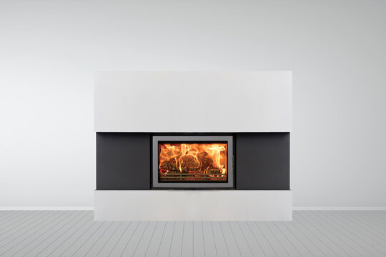 Interior of empty classic white room with modern fireplace