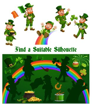 Kids game shadow match with funny leprechauns, children logic activity, preschool or kindergarten education with Patrick day character. Cartoon worksheet, find suitable silhouette riddle, logic puzzle