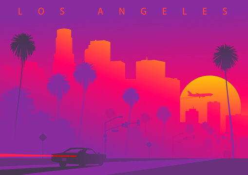 Cityscape of Los Angeles during the sunset with the huge sun. A car is driving towards downtown LA. Colorful vector illustration (original, not derived image)