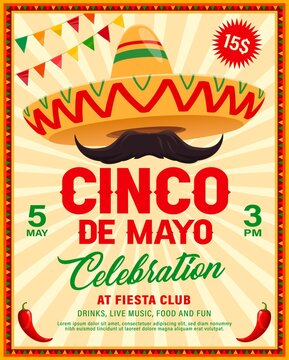 Cinco de Mayo sombrero vector flyer of Mexican fiesta party. Mariachi musician sombrero hat and mustache with red chilli peppers or jalapeno in frame of ethnic ornaments and festive flags garland