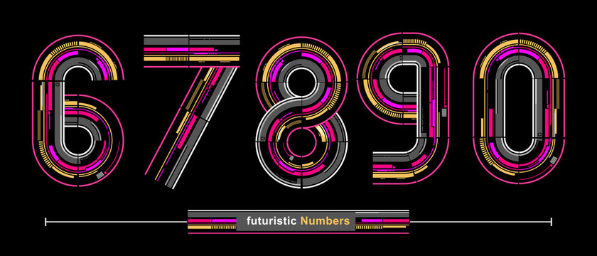 Numbers Typography Font futuristic modern style in a set 67890
