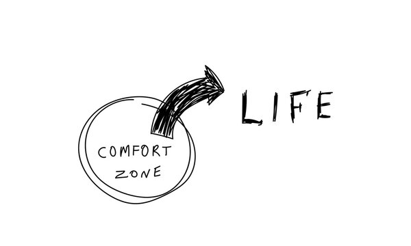 Exit from the comfort zone concept.