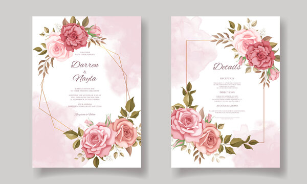 Beautiful wedding invitation card with floral design