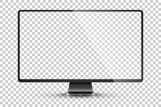 Trendy realistic thin frame monitor mock up with blank white screen isolated. PNG. Vector illustration