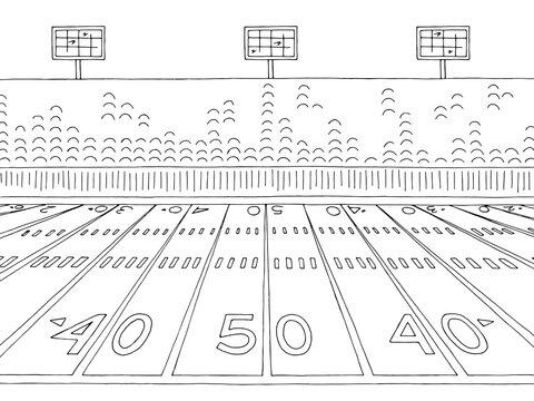 Stadium American football sport graphic black white sketch illustration vector