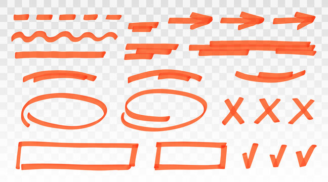 Orange highlighter set - lines, arrows, crosses, check, oval, rectangle isolated on transparent background. Marker pen highlight underline strokes. Vector hand drawn graphic stylish element
