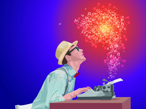 A magnificent story, author typing on a typewriter