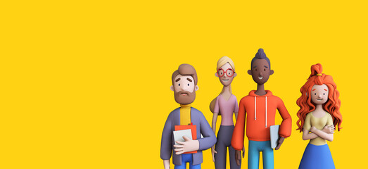 Fototapeta Group of diverse business people on a yellow background template. Business teamwork concept. Trendy 3d illustration obraz
