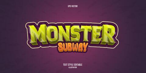 Obraz Monster Subway 3D text style effect template - fototapety do salonu
