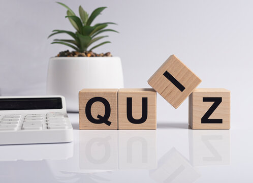 Quiz word, inscription. Question game and quest concept