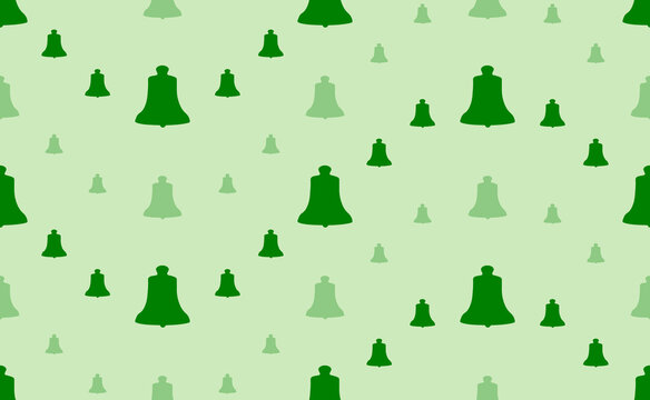 Seamless pattern of large and small green vintage bell symbols. The elements are arranged in a wavy. Vector illustration on light green background