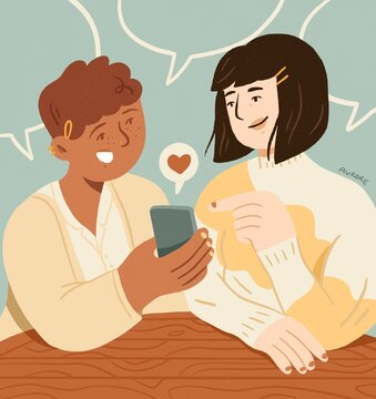 Friends on social medias. Women talking with a smartphone in their hands. Giving likes.