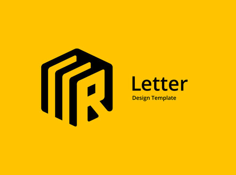 Letter R with cube logo icon design template elements