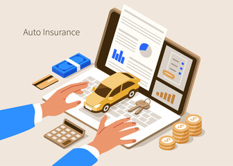 Man Character Buying or Renting Car and Signing Auto Insurance Policy Form. Insurance Agent or Salesman providing Security Document. Auto Care and Protection Concept. Flat Isometric Illustration.