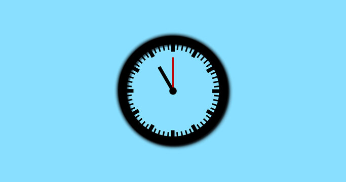 Beautiful 2d flat clock with gradient cyan background.  Black and white 2d clock. concept of time. time is 11:00 o clock.