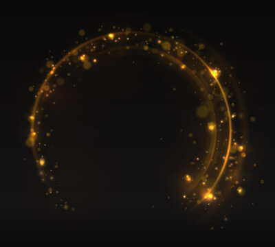 Golden rings. Gold circles frames with glitter light effect. A golden flash flies in a circle in a luminous ring.