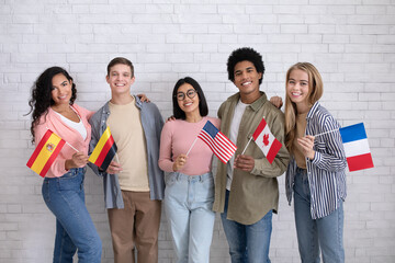 Immigrants of different countries and exchange students in language school