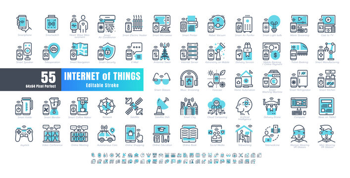 64x64 Pixel Perfect. Internet of Things (IOT). Line Outline and flat Icons Vector. for Website, Application, Printing, Document, Poster Design, etc. Editable Stroke