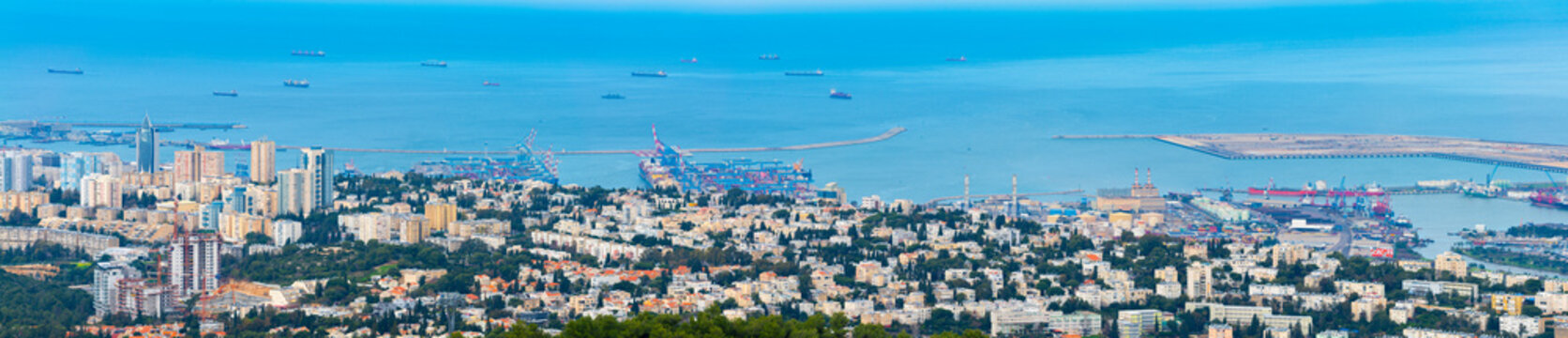 The Cityscape of Haifa At Day,  The Israel Cities, Aerial View, Israel