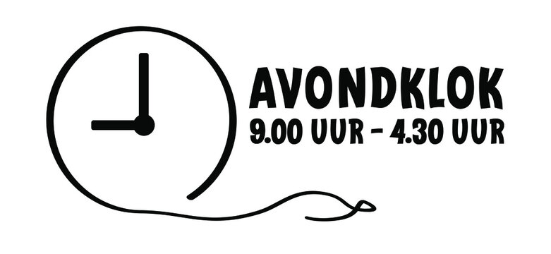 Slogan Curfew. Means Avonklok in the Netherlands. Evening clock, one must stay indoors between 9:00 pm and 4:30 pm. Sleeping time line icon.