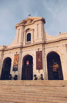 AUG 2018 ITA - Church of Bonaria in Cagliari at sunset .
