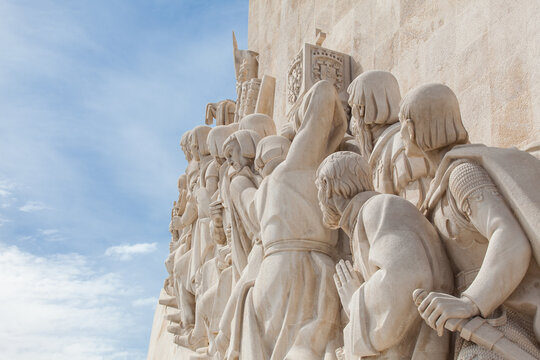 Close-up of The monument for the conquerers - Lisbon, Portugal. Navigators statues in a stone caravel