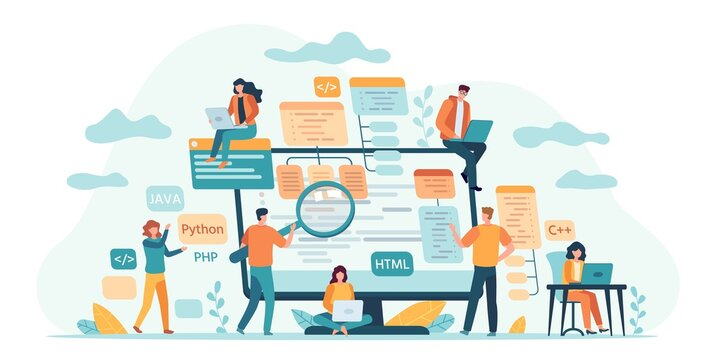 Program development team. Web or software developers, programmer and coding engineer work in group. IT-specialists write code vector concept. Illustration programming development team