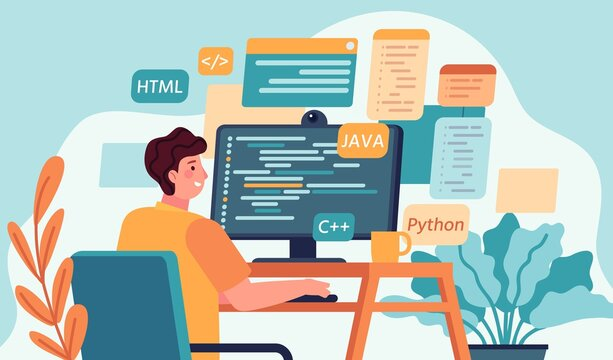 Programmer working. Program or web developer coding on computer. Screen with code, script and open windows. Coder engineer vector concept. Illustration development programmer, programming and coding