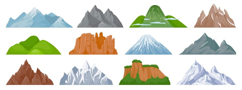 Cartoon mountains. Snowy mountain peak, hill, iceberg, rocky mount climbing cliff. Landscape and tourist hiking map elements vector set. Hill landscape, mountain peak outdoor to hiking illustration