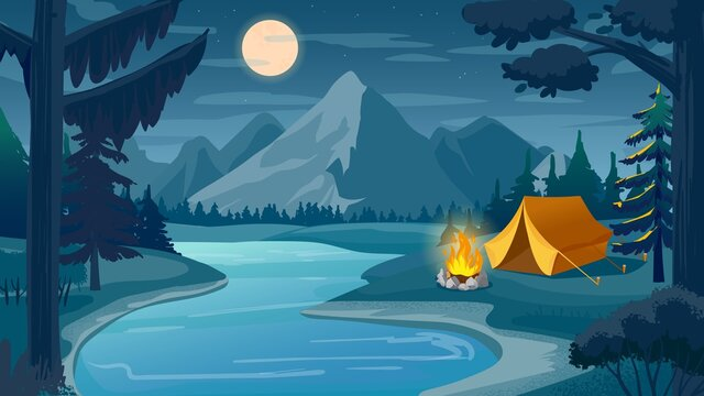 Mountain night camping. Cartoon forest landscape with lake, tent and campfire, sky with moon. Hiking adventure, nature tourism vector scene. Night camping, moon and fire near tent in dusk illustration