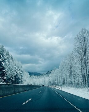 Frosted mountain drive through Asheville