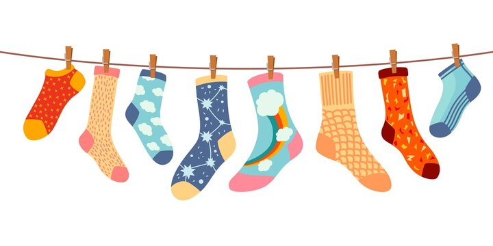 Socks on rope. Cotton or wool sock dry and hang on laundry string with clothespins. Children socks with textures and patterns vector cartoon. Illustration wool and cotton socks in rope