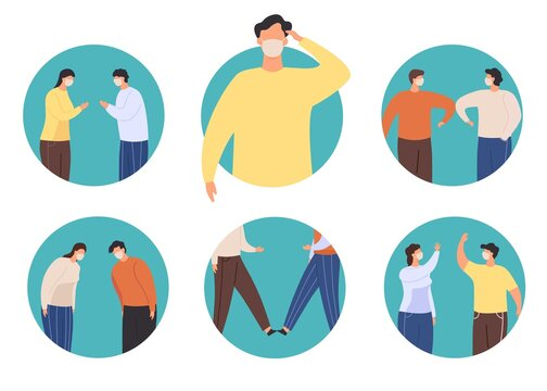 Non-contact greeting icon. New normal greet to stop virus, alternative to handshake namaste, elbow and feet bump, wawing and bow vector set. Illustration social prevention covid-19