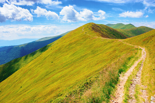 path through borzhava ridge. beautiful summer nature landscape of carpathian mountain. green hillside meadows beneath a blue sky with clouds. stoj peak in the distance