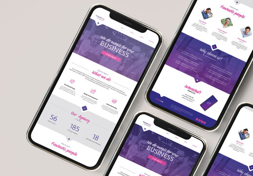 Agency Promotion Email Newsletter with Purple and Magenta Accents