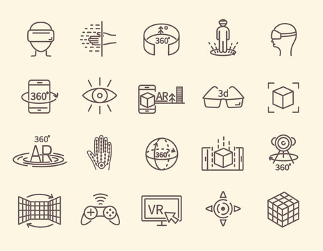 AR and VR line icon set. Virtual and augmented reality outline icons for web design, mobile apps, ui design and print. 3D visualization technology. Bundle of isolated vector illustrations