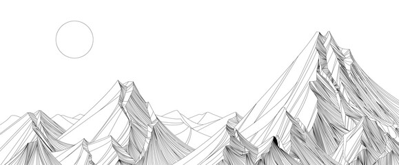 Canvas Prints White landscape wallpaper design with black mountain line arts, luxury background design for cover, invitation background, packaging design, fabric, and print. Vector illustration.